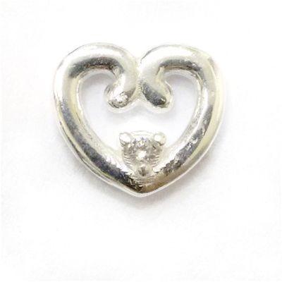 Mini Berloque Coração Vazado com Zircônia em Prata 925