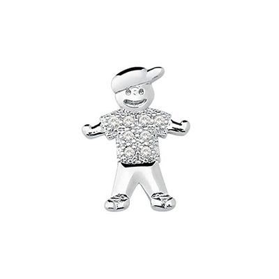 Mini Berloque Menino em Prata 925 com Zircônias