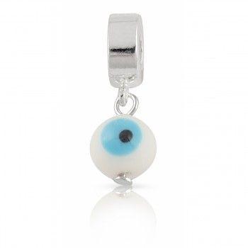 Berloque Olho Grego Branco em Prata 925 - Linha Dreams