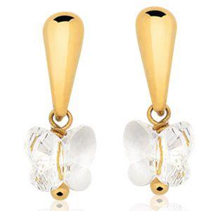 Brinco em Ouro Amarelo 18k com Borboleta de cristal