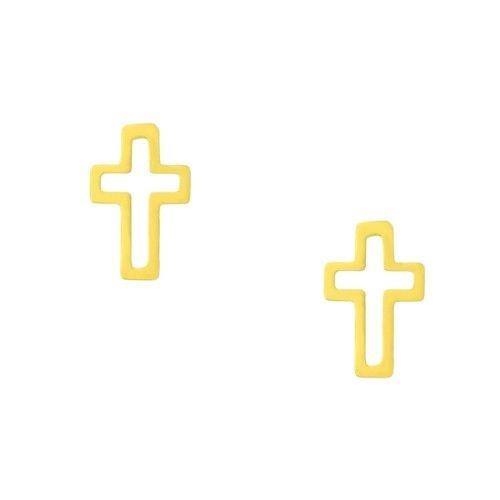 Brinco Mini Cruz em Ouro Amarelo 18k