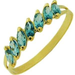Meia Aliança em Ouro Amarelo 18k com Zircônias Azuis