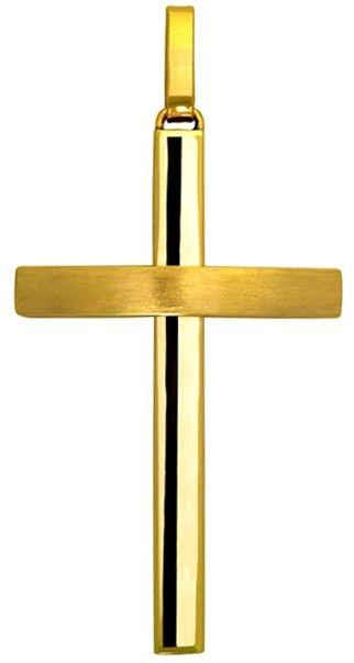Pingente Cruz Fio Quadrado em Ouro Amarelo 18K