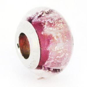 Berloque Murano Rosa com Gliter - Linha Dreams