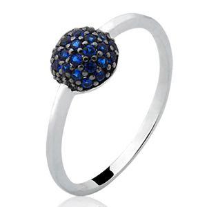 Anel Dreams em Prata 925 com Bolinha Cravejada com Zircônia Azul