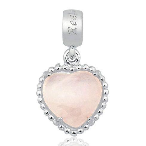 Berloque Dreams Coração em Prata 925 com Quartzo Rosa