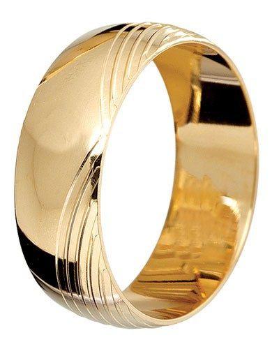 Aliança Meia Cana com Frisos em Ouro Amarelo 18K-750