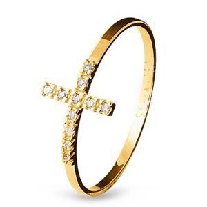 Anel Cruz em Ouro Amarelo 18k com Zircônias