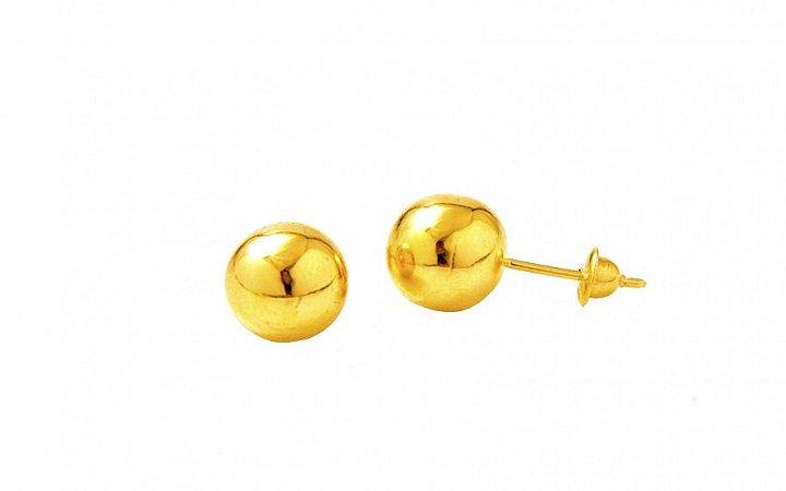 Brinco Bolinha de 7mm em Ouro Amarelo 18k