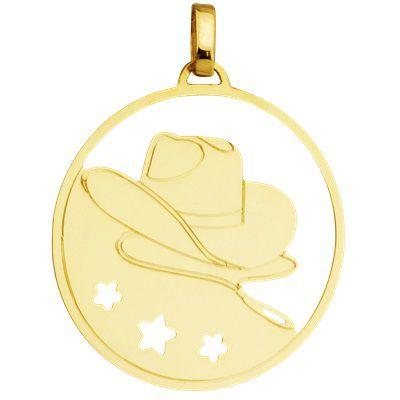 Pingente Chapéu de Cowboy com aro em volta em Ouro Amarelo 18K