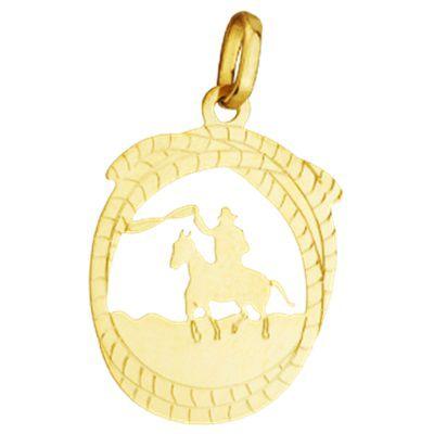 Pingente Cowboy com Cavalo em Ouro Amarelo 18K