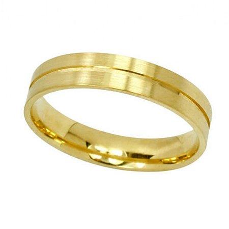 Aliança Reta com Friso Central em Ouro Amarelo 18k