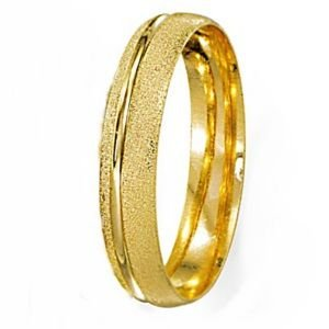 Aliança Abaulada Diamantada com Friso Polido em Ouro Amarelo 18k