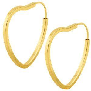 Brinco Argola Coração com Fio Quadrado em Ouro Amarelo 18k - RS ... 07552d8b62