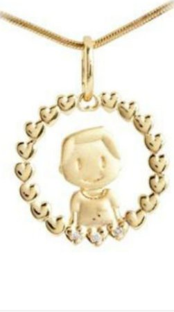 Medalha Menino em Ouro Amarelo 18k com Brilhantes