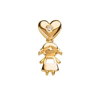 Pingente Coração com Menina Pendurada na Base em Ouro Amarelo 18k com Brilhante