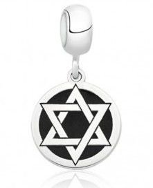 Berloque Estrela de Davi em Prata 925 com Resina Preta - Linha Dreams