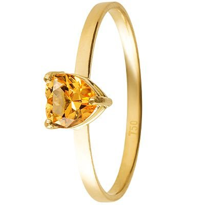 Anel Solitário em Ouro Amarelo 18k com Topázio Amarelo 5x5mm - Coleção  Boreal 99d0c435c1