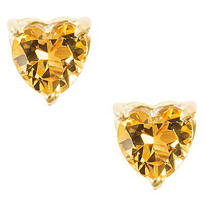 Brinco Coração em Ouro Amarelo 18k com Topázio Amarelo - Coleção Boreal