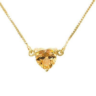 Gargantilha Coração em Ouro Amarelo 18k com Topázio Amarelo - Coleção Boreal