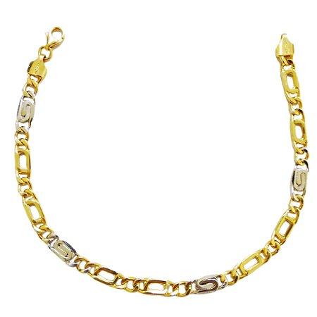 Pulseira Groumet 1 x 1 em Ouro Amarelo e Branco 18k-750 com 21 cm
