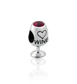Berloque Taça de Vinho em Prata 925 com Ródio Branco - Linha Dreams