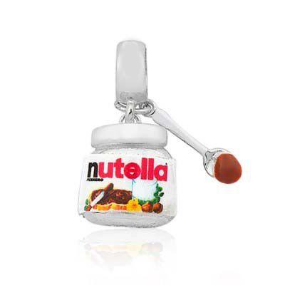 Berloque Nutella em Prata 925 com  resina