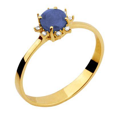 Anel em Ouro amarelo 18 k com Safira e Diamantes