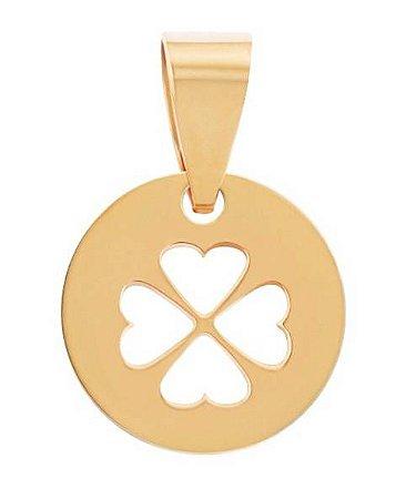 197e45f8075a3 Pingente Medalha trevo Vazado em Ouro amarelo 18k - RS Metais Joias