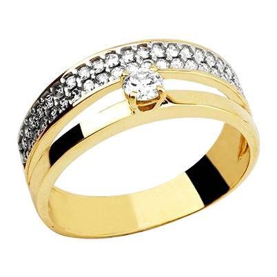 Anel Aliança em Ouro Amarelo 18k com diamantes
