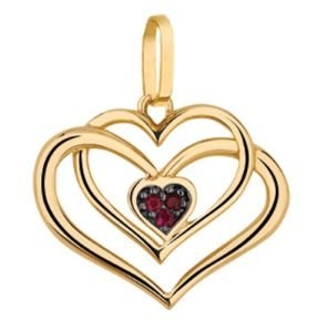 Pingente Coração duplo Vazado em Ouro 18k com Rubi