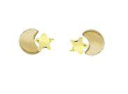 Brinco Estrela e Lua em Ouro 18k -750