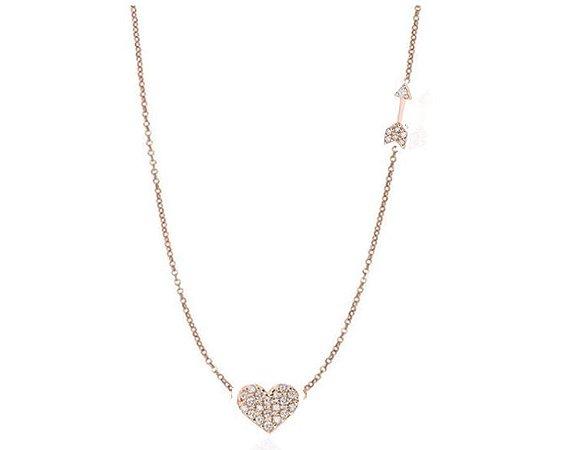 Gargantilha Coração com flecha em Ouro 18k - 750