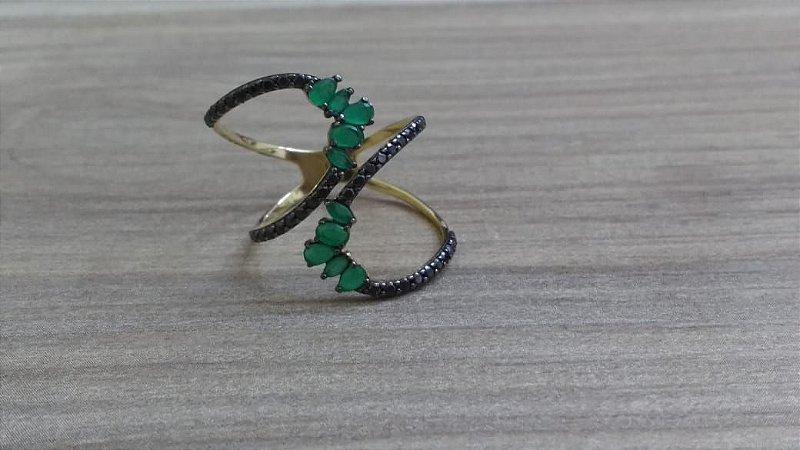 21543992cb79f Anel Cobra em Ouro 18k com zircônias pretas e verdes - RS Metais Joias