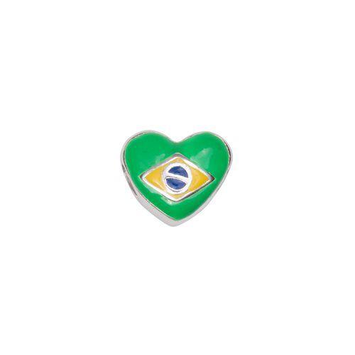 Berloque Coração Brasileiro separador em Prata 925 com resina