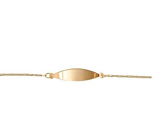 Pulseira Infantil Em Ouro Amarelo 18k - 750 Com Chapa Oval
