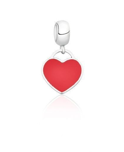 Berloque Coração Em Prata 925 Com Resina Vermelha