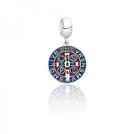 Berloque Mandala São Bento Em Prata 925 Com Resina