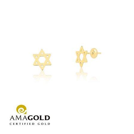 Brinco Estrela De Davi Mini Em Ouro Amarelo 18K-750