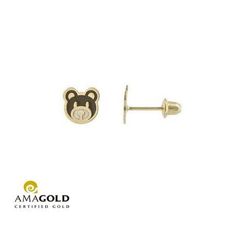 Brinco Urso  Em Ouro Amarelo 18K-750 Com Resina