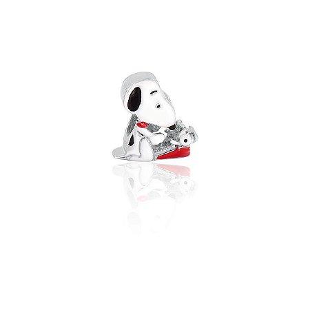 Berloque Snoopy Com Maquina De Escrever Em Prata 925 Com Ródio Branco e Resina