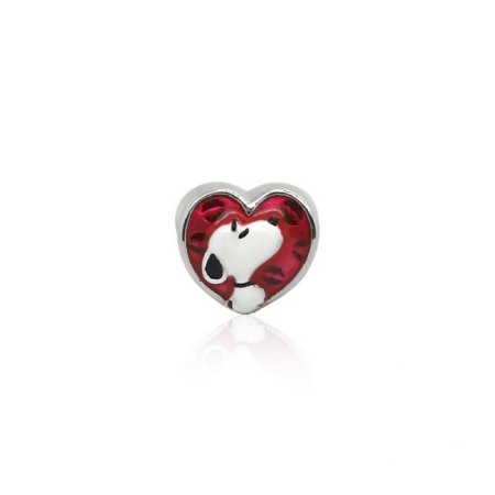 Berloque Separador Coração Snoopy Em Prata 925 Com Ródio Branco e Resina