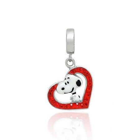 Berloque Snoopy No Coração Em Prata 925 Com Ródio E Resina