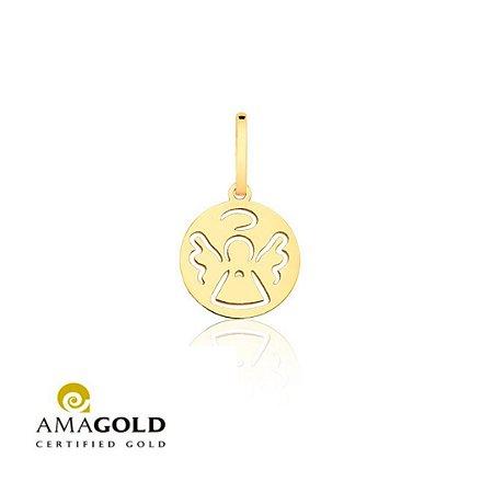 Pingente Medalha Anjo Vazado Em Ouro 18K-750