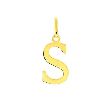 Pingente Letra S Em Ouro Amarelo 18K-750