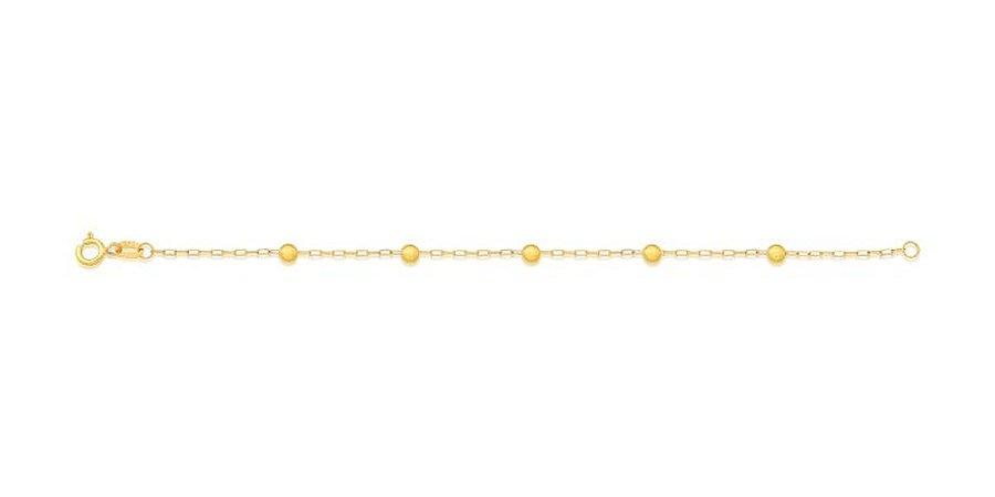 Pulseira Infantil com 5 Bolinhas em Ouro Amarelo 18K