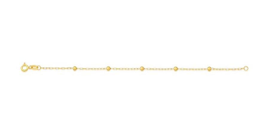Pulseira Infantil Em Ouro Amarelo 18k - 750 Com 5 Bolinhas De 2,5mm
