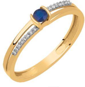 Anel em Ouro 18k-750 Com Safira e Diamante