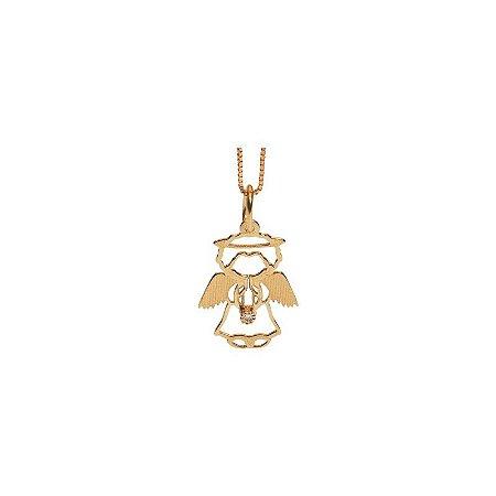 Pingente Anjo Da Guarda Vazado Em Ouro Amarelo 18k -750 Com 1 Zircônia