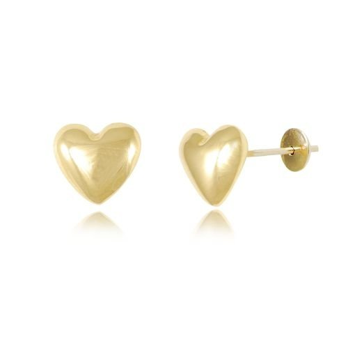 Brinco Coração Fosco em Ouro Amarelo 18k